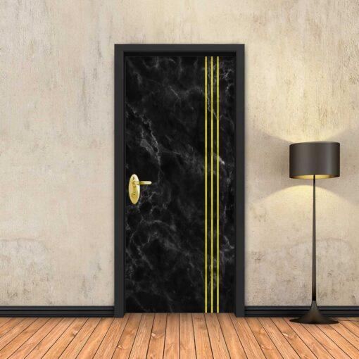 טפט לדלת שיש שחור 3 פסי זהב