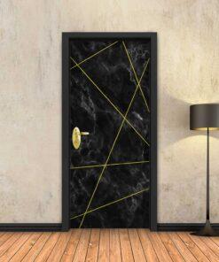 טפט לדלת שיש שחור מופשט פסי זהב
