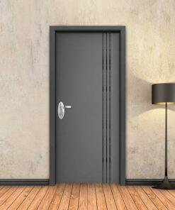 טפט לדלת אפור 3 פסים שחורים