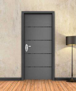 טפט לדלת אפור 4 פסים שחורים