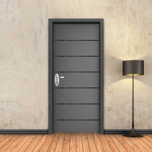 טפט לדלת אפור 6 פסים שחורים