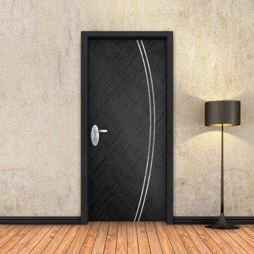 טפט לדלת שחור מוברש 2 פסי ניקל מעוקלים