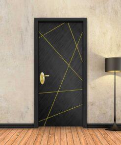 טפט לדלת שחור מוברש מופשט פסי זהב