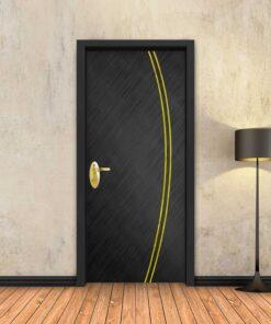 טפט לדלת שחור מוברש 2 פסי זהב קמורים