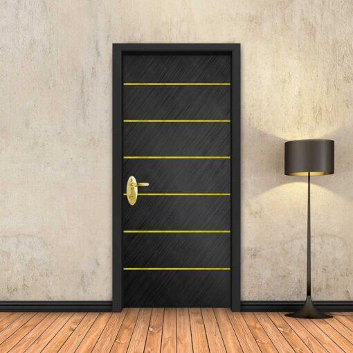 טפט לדלת שחור מוברש 6 פסי זהב