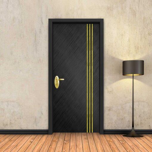טפט לדלת שחור מוברש 3 פסי זהב