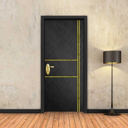 טפט לדלת שחור מוברש 2X2 פסי זהב