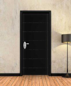 טפט לדלת שחור חלק 6 פסים שחורים