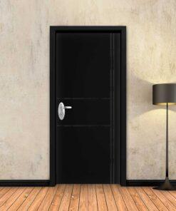 טפט לדלת שחור חלק 2X2 פסים שחורים