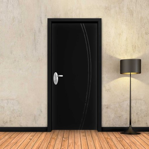 טפט לדלת שחור חלק 2 פסים מעוקלים שחורים