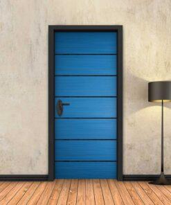 טפט לדלת כחול 6 פסים שחורים