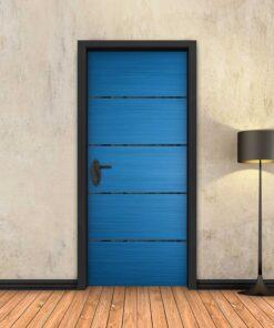 טפט לדלת כחול 4 פסים שחורים