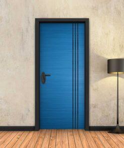 טפט לדלת כחול 3 פסים שחורים