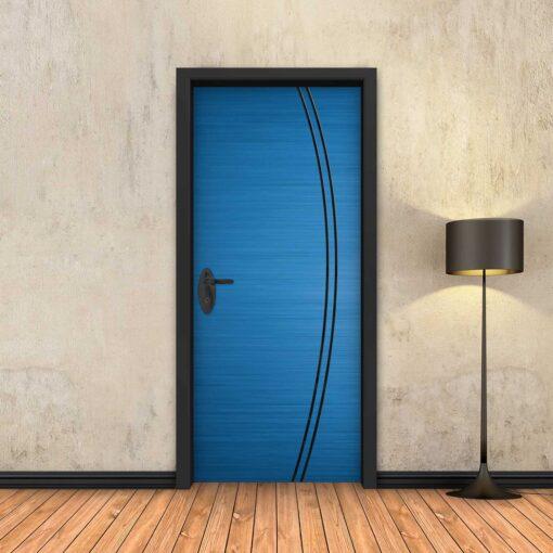 טפט לדלת כחול 2K פסים שחורים