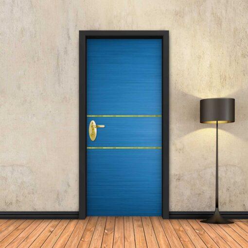 טפט לדלת כחול 2 פסי זהב