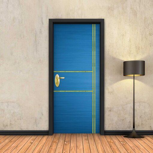 טפט לדלת כחול 2X2 פסי זהב