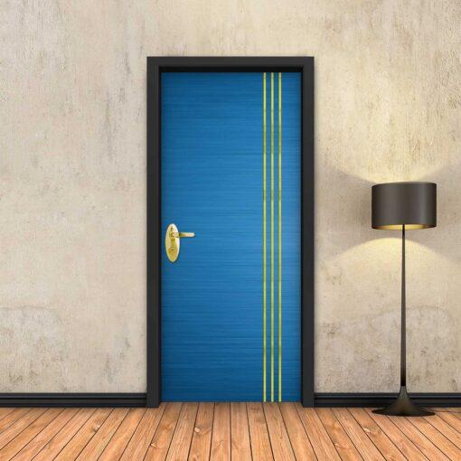 טפט לדלת כחול 3 פסי זהב