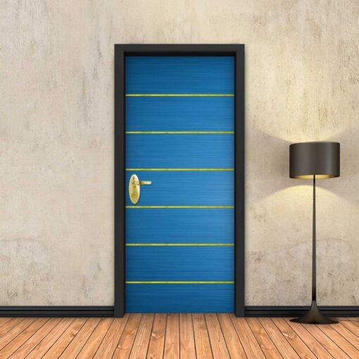 טפט לדלת כחול 6 פסי זהב