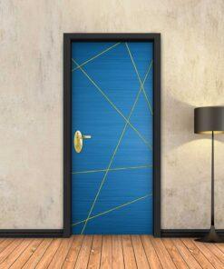 טפט לדלת כחול מופשט פסי זהב