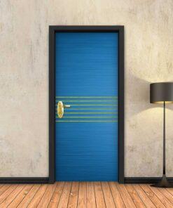 טפט לדלת כחול 7 פסי זהב