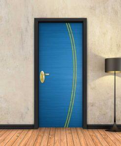 טפט לדלת כחול 2K פסי זהב
