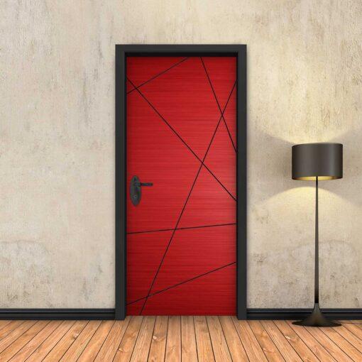 טפט לדלת אדום מופשט פסים שחורים