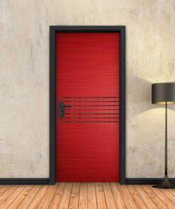 טפט לדלת אדום 7 פסים שחורים