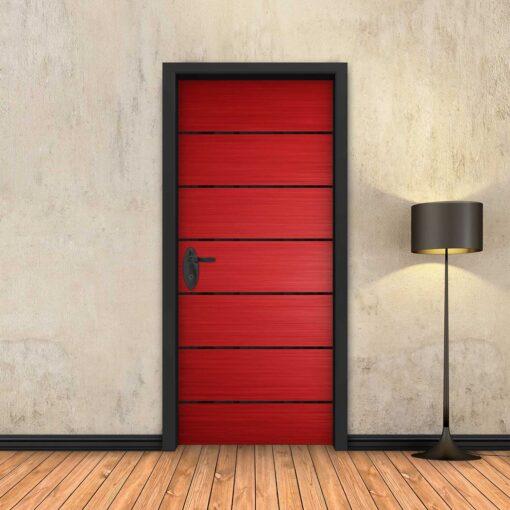 טפט לדלת אדום 6 פסים שחורים