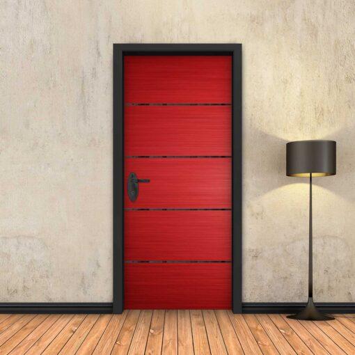 טפט לדלת אדום 4 פסים שחורים