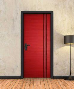 טפט לדלת אדום 3 פסים שחורים