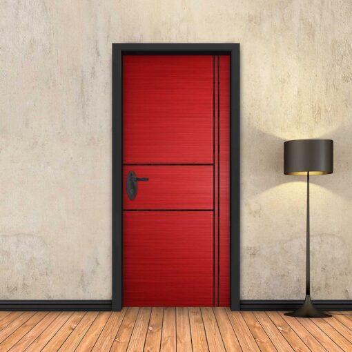 טפט לדלת אדום 2X2 פסים שחורים