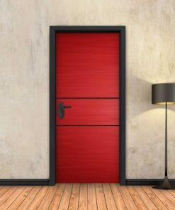 טפט לדלת אדום 2 פסים שחורים