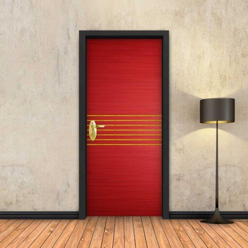 טפט לדלת אדום 7 פסי זהב
