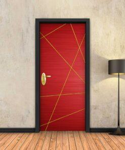 טפט לדלת אדום מופשט פסי זהב