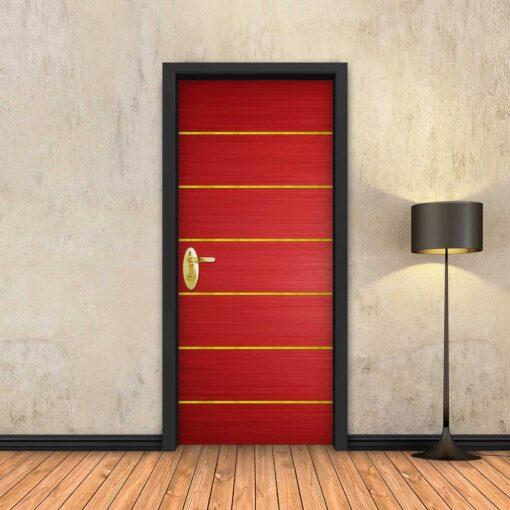טפט לדלת אדום 6 פסי זהב