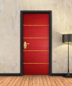 טפט לדלת אדום 4 פסי זהב