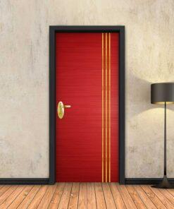 טפט לדלת אדום 3 פסי זהב