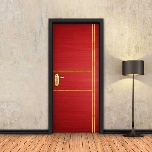 טפט לדלת אדום 2X2 פסי זהב