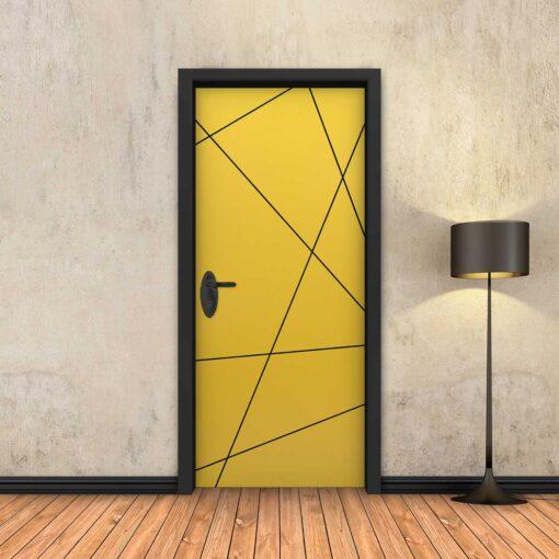 טפט לדלת צהוב מופשט פסים שחורים