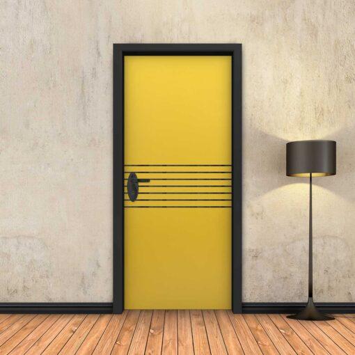 טפט לדלת צהוב 7 פסים שחורים