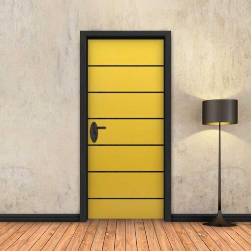 טפט לדלת צהוב 6 פסים שחורים
