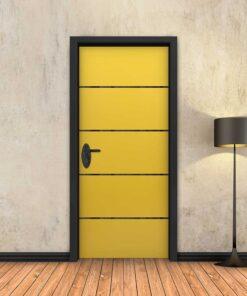 טפט לדלת צהוב 4 פסים שחורים