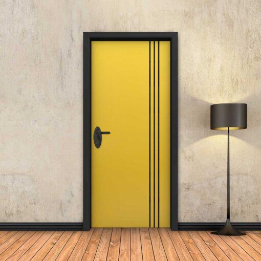 טפט לדלת צהוב 3 פסים שחורים
