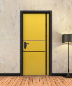 טפט לדלת צהוב 2X2 פסים שחורים