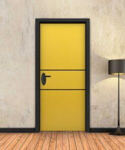 טפט לדלת צהוב 2 פסים שחורים