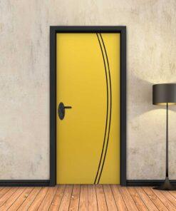 טפט לדלת צהוב 2K פסים שחורים