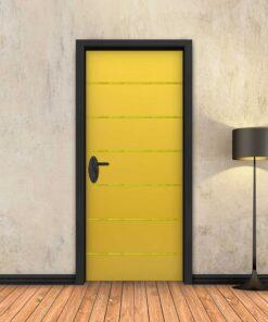 טפט לדלת צהוב 6 פסי זהב