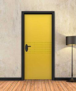 טפט לדלת צהוב 7 פסי זהב