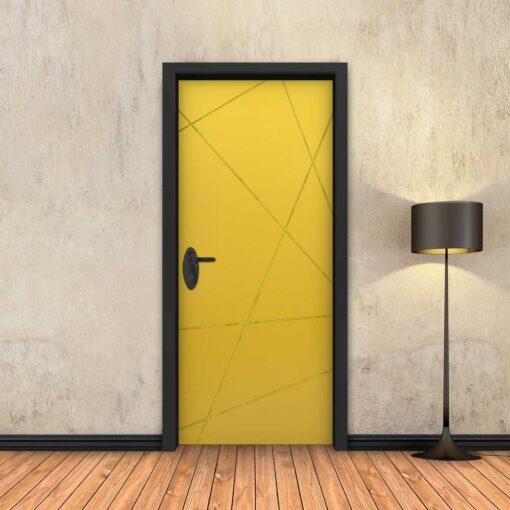 טפט לדלת צהוב מופשט פסי זהב
