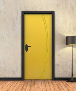 טפט לדלת צהוב 2K פסי זהב